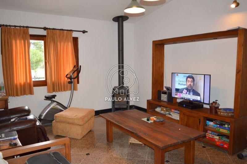 Sala de estar con estufa a leña de alto rendimiento